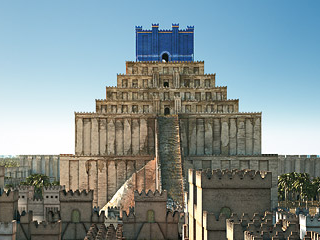 Imaginary reconstruction of the Etemenanki ziggurat in Babylon